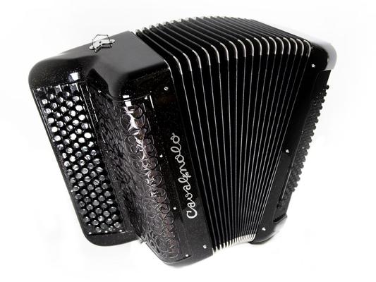 Cavagnolo Orchestre 5 New Tech Couleur noir pailleté argent, 3 voix, musette américain, Caisse Carbone