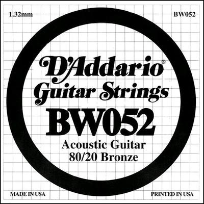 D'Addario Guitar Acoustic 80/20 .052 Bronze Round Wound