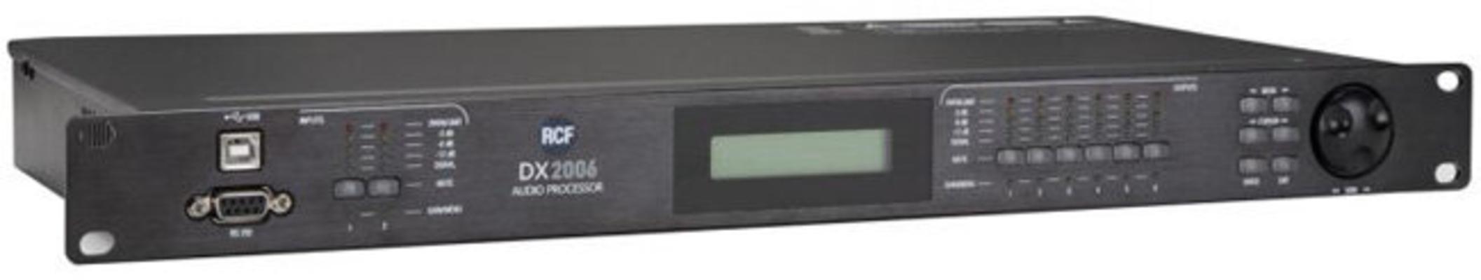 RCF DX 2006 : Processeur numérique 2 entrées, 6 sorties, connexions XLR, Fréquence d'échantillonnage 96 kHz, logiciel de commande inclus.