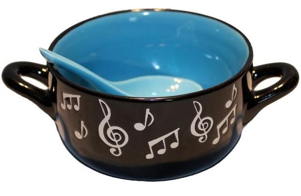 Music Sales Note de musique Céréales / bol à soupe avec cuillère Bleu