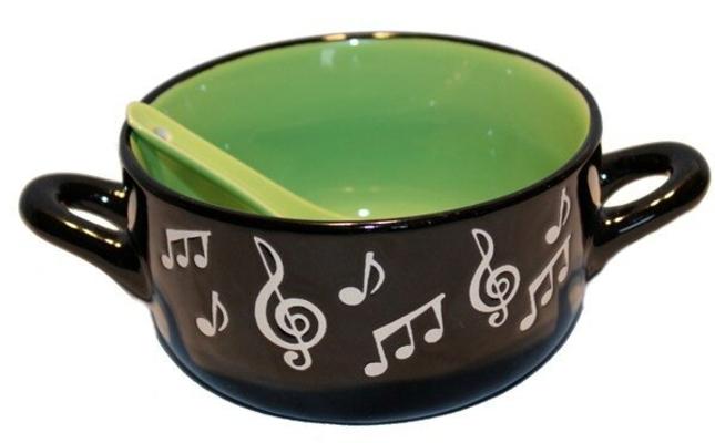 Music Sales Note de musique Céréales / bol à soupe avec cuillère Vert