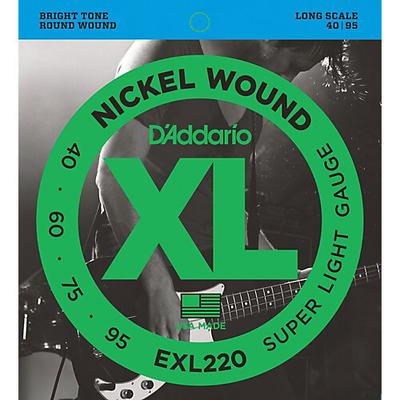 D'Addario EXL220 Nickel Round Wound Long Scale .040-.095 Super Soft