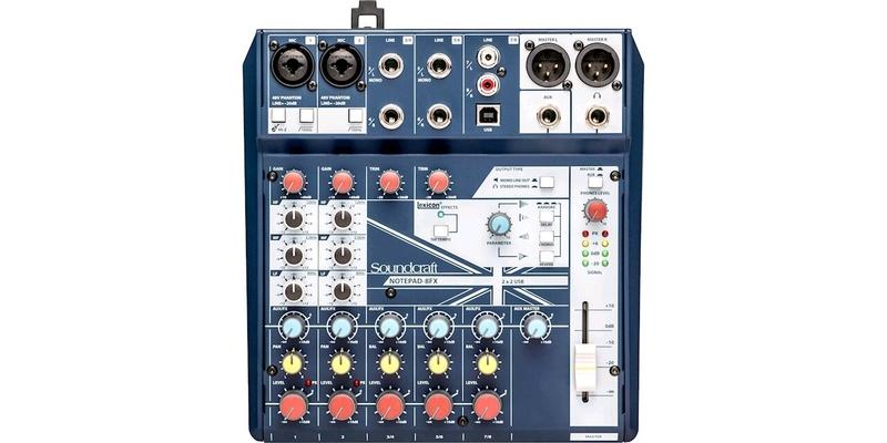 Soundcraft Notepad 8FX Analog Mixer, USB I/O