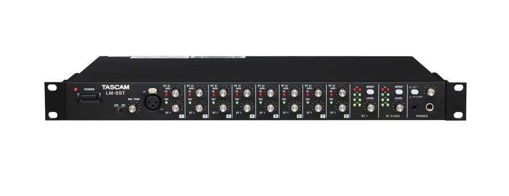 Tascam LM-8ST Line Mixer 8 Stereo ins + Mic/Line in on front panel 1U