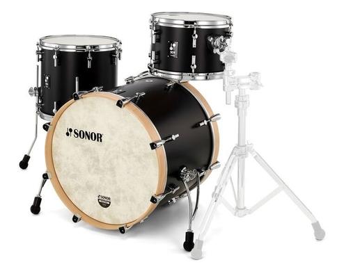 Sonor SQ1 322 Set NM GTB GT Black Shell Set: 22» x 17.5» Bass Drum (no mount) 12» x 8» Tom 16» x 15» Floor Tom