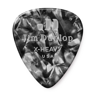 Dunlop Picks Genuine Celluloid Classic Black Pearloid Extra Heavy Player's Pack of 12 Picks