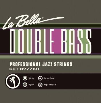 La Bella 7710T Cordes Contrebasse White Nylon Tape Wound Rope Core jeu 3/4 : photo 1
