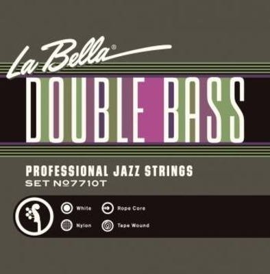 La Bella 7710T Cordes Contrebasse White Nylon Tape Wound Rope Core jeu 3/4