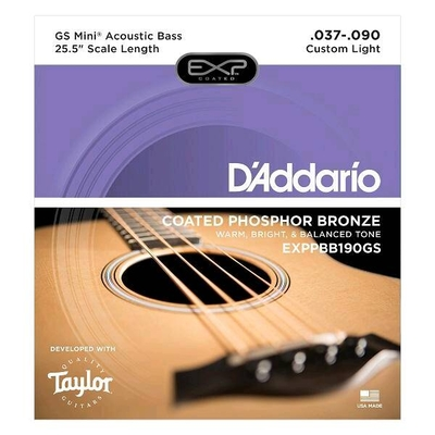 D'Addario EXPPBB190GS Acoustic Bass Coated .037-.090 Taylor GS Mini Scale, Phosphor Bronze, Custom Medium