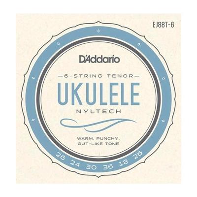 D'Addario Jeu 6 cordes Ukulélé Tenor »Nyltech» (Aquila) .026-.026 Natural Nylon