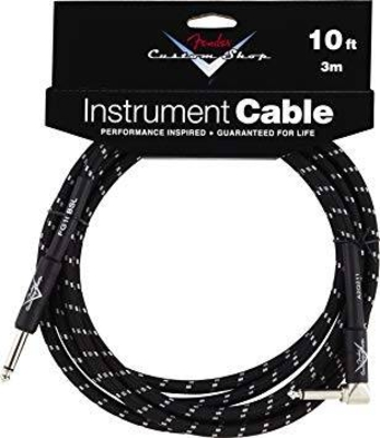 Fender Cables Deluxe Series Instrument Cable Straight/Angle 18.6′ Black Tweed