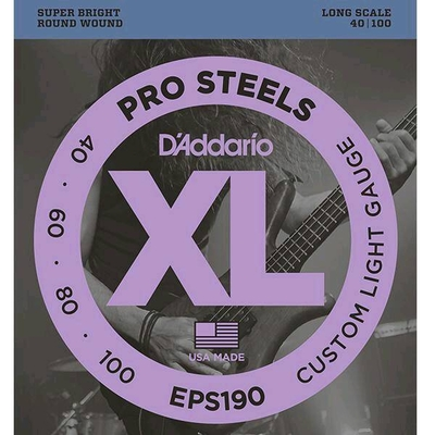 D'Addario EPS190 Stainless Round W. Long Scale .040-.100 Custom Light