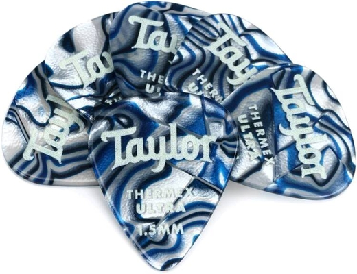 Taylor Premium Thermex Ultra Picks Blue Swirl 1.50 MM 6 pack