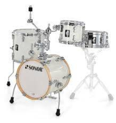 Sonor AQ2 Martini Set WHP Shell Set consisting of: 14» x 13» Bass Drum (with Mount) 12» x 5» Snare Drum 8» x 7» Tom13» x 12» Floor Tom  CTH 4000 Cymbal/Tom Holder
