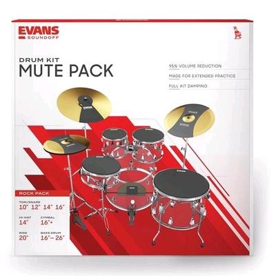 Evans Jeu Complet De Sourdines SoundOff par Evans Rock avec E-Ring 10» 12» 14» 16» Cymbales et Grosse Caisse