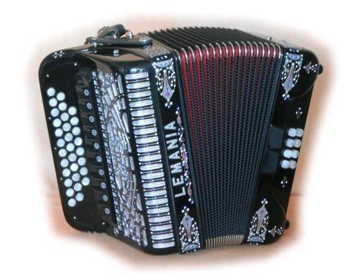 Lemania Diatonique noir avec décorations perlé 5 voix musette Boite de résonance Do/Fa12 basses