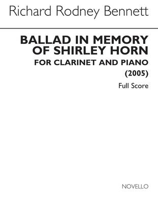 Ballad In Memory Of Shirley Horn / Richard Rodney Bennett / Novello