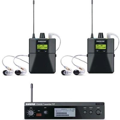 Shure PSM300 System Twin Pack Pro avec P3T émetteur, 2 x P3RA récepteur de poche, 2 x  SE215 écouteurs