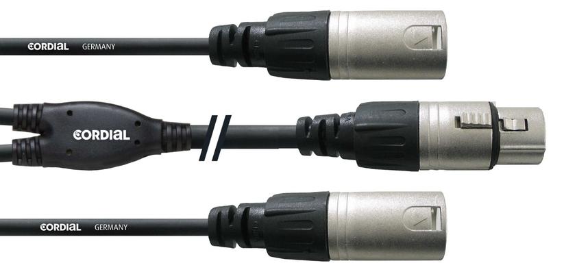 Cordial CFY 0.3 FMM câble Y, 0.3m