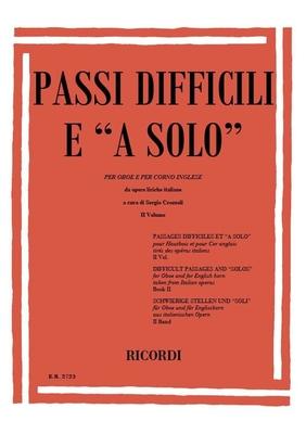 Passi Difficili E A Solo Da Opere Liriche Per Oboe E Per Corno Inglese Sergio Crozzoli  Oboe Partitur  ER 2723 / Sergio Crozzoli / Ricordi