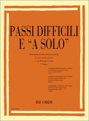 Passi Difficili E A Solo Da Opere Liriche Per Oboe E Per Corno Inglese Sergio Crozzoli  Oboe Partitur  ER 2722 / Sergio Crozzoli / Ricordi