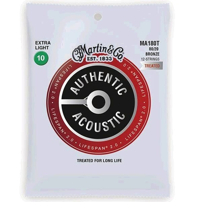 Martin & Co MA180T Authentic Acoustic, Lifespan Treated – 80/20 Bronze 12-String .010/.010 – .047/.027 – Extra Light