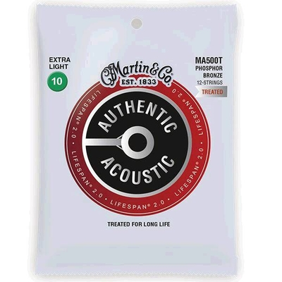 Martin & Co MA500T Authentic Acoustic, Lifespan Treated -Phos. Bronze 12-String .010/.010 – .047/.027 – Extra Light