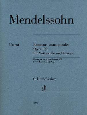 Romance sans paroles Lied Ohne Worte op. 109 for Violoncello and Piano, with marked and unmarked string part HN 1294 / Felix Mendelssohn Bartholdy / Ernst-Günter Heinemann / Henle