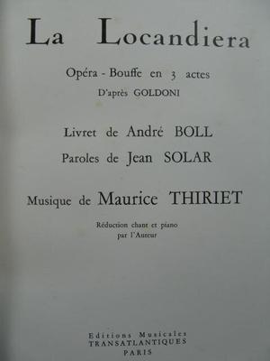 La Locandiera  André Thiriet  Vocal and Piano Buch  ETR000635 / André Thiriet / Transatlantiques