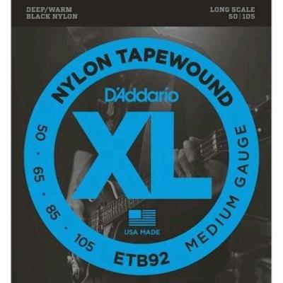 D'Addario El. Bass .050-.105 Black Nylon Tapewound Long Scale (nylon noir poli)Jeu de cordes D'Addario ETB92