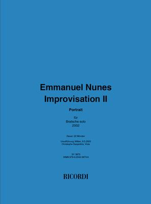 Improvisation II  Emmanuel Nunes  Viola Recueil  Musique contemporaine / Emmanuel Nunes / Ricordi