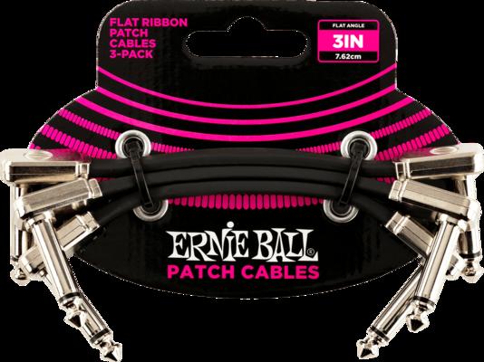 Ernie Ball EB6220 Plat coudé/coudé noir 7.62cm Paquet de 3