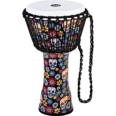 Meinl Rope Tunes Travel Series Djembes 10» Rope Tuned Djembe – Day Of The Dead – Synthetic Head