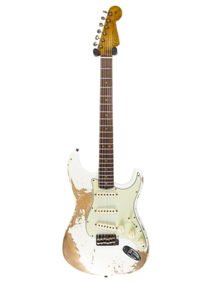 Fender Custom Shop 65′ Stratocaster Super Heavy Relic, AAA Flame Maple Neck, Rosewood Fingerboard, Olympic White