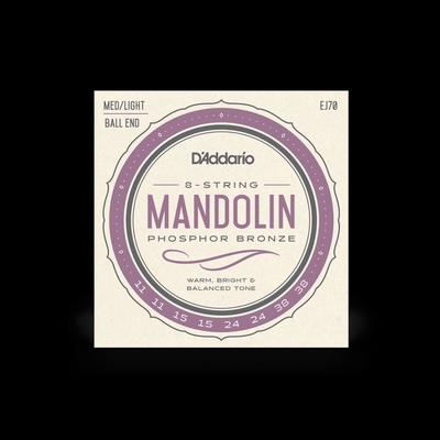 D'Addario Mandolin 8 Strings Phos. Bronze Wound Ball End, Medium Light
