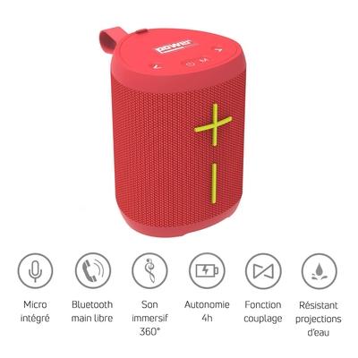 Power Acoustics GETONE 20 RED Enceinte Nomade Bluetooth Compacte – Couleur Rouge
