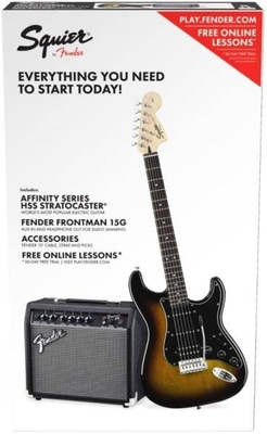 Squier Affinity Series Stratocaster HSS Pack Laurel Fingerboard Brown Sunburst