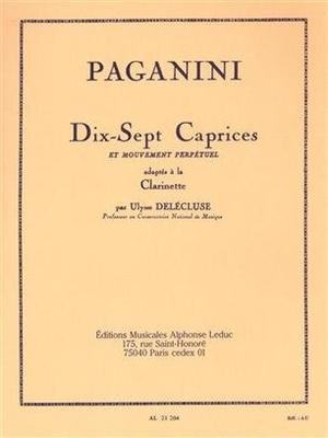 17 Caprices for Clarinet Niccol Paganini Delecluse / Niccol Paganini / Leduc