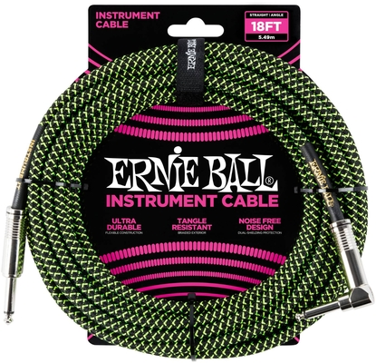 Ernie Ball 18FT Braided Straight / Angle, Back / Green