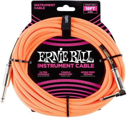 Ernie Ball 18FT Braided Straight / Angle Neon Orange