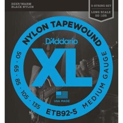 D'Addario 5-String .050-.135 Black Nylon Tapewound Long Scale