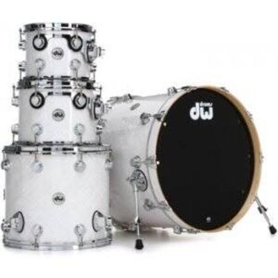 DW Collector's Series Cherry Shell FP-White Crystal Chrom HW  bass drum 22»x18», Tom Tom10»x8»/12»x9» Floor Tom 16»x12»