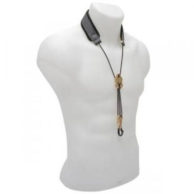BG BG, Cordon en cuir pour sax soprano/alto/ténor – confort large – avec réglage métallique et crochet en métal