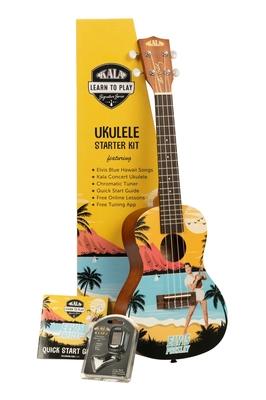 Kala Kala Learn To Play Elvis Blue Hawaii Concert Ukulele Starter Kit