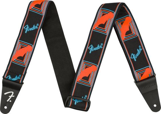 Fender Neon Monogrammed Strap, Blue/Orange
