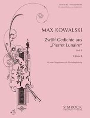 12 Poems op. 4 Band 2 from Pierrot Lunaire / M. Kowalski / Simrock