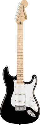 Squier Affinity Series Stratocaster, Maple Fingerboard, White Pickguard, Black