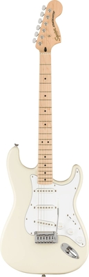 Squier Affinity Series Stratocaster, Maple Fingerboard, White Pickguard, Olympic White