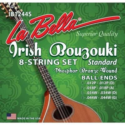 La Bella Bouzouki-Irish 8 strings Set .012-.044 Phosphor Bronze Wound, Ball End, Standard Tension