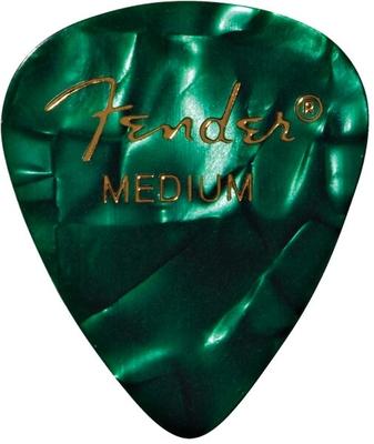 Fender Premium Celluloid 351 Shape Picks, Medium, Green Moto (la pièce)